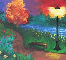 Park Bench in Evening by Diana Matlock