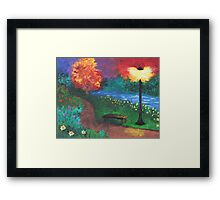 Park Bench in Evening Framed Print