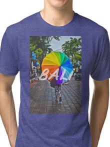 Bali Umbrella Typography Print Tri-blend T-Shirt