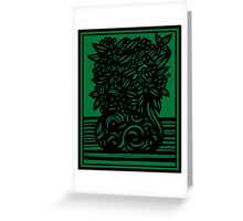 Camano Flowers Green Black Greeting Card