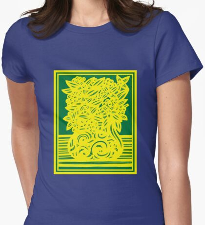 Kingham Flowers Yellow Green Womens Fitted T-Shirt