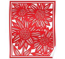 Villarrvel Flowers Red White Poster