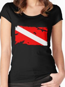 Divers Down Flag Women's Fitted Scoop T-Shirt