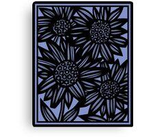 Fatone Flowers Blue Black Canvas Print