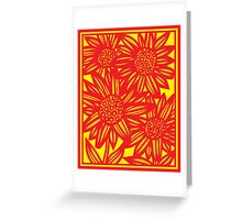 Covone Flowers Yellow Red Greeting Card