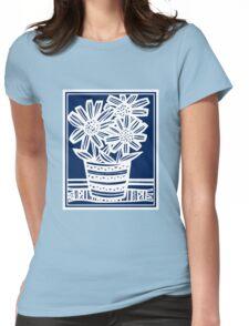 Perrett Flowers Blue White Womens Fitted T-Shirt