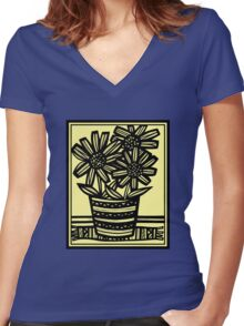 Giacomo Flowers Yellow Black Women's Fitted V-Neck T-Shirt