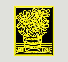 Bynoe Flowers Yellow Black Womens Fitted T-Shirt