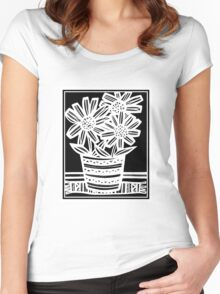 Nonemaker Flowers Black and White Women's Fitted Scoop T-Shirt