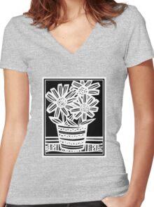 Nonemaker Flowers Black and White Women's Fitted V-Neck T-Shirt