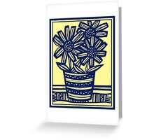 Anthon Flowers Yellow Blue Greeting Card