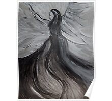 Black and White Angle, Abstract Acrylic Painting  Poster