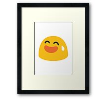 Smiling Face With Open Mouth And Cold Sweat Google Hangouts / Android Emoji Framed Print