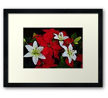Poinsettia and Lilies Framed Print