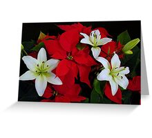 Poinsettia and Lilies Greeting Card
