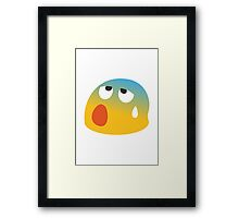 Face With Open Mouth And Cold Sweat Google Hangouts / Android Emoji Framed Print