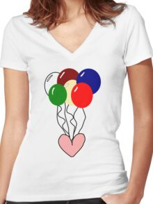 Happy Heart and Balloons Women's Fitted V-Neck T-Shirt
