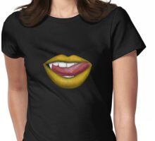 VAMPIRE LIPS - YELLOW Womens Fitted T-Shirt