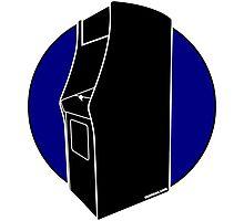 Retrogamer - Arcade Cabinet Silhouette - BLUE Photographic Print