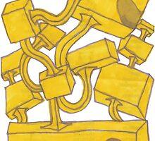Yellow 3D Blocks by Seth Cummins by Seth Cummins