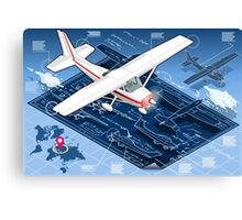 Isometric Infographic Airplane Blue Print Canvas Print