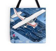 Isometric Infographic Airplane Blue Print Tote Bag