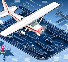 Isometric Infographic Airplane Blue Print by aurielaki