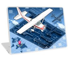 Isometric Infographic Airplane Blue Print Laptop Skin
