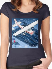 Isometric Infographic Airplane Blue Print Women's Fitted Scoop T-Shirt