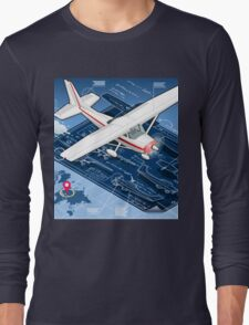 Isometric Infographic Airplane Blue Print Long Sleeve T-Shirt