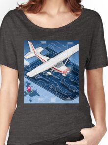 Isometric Infographic Airplane Blue Print Women's Relaxed Fit T-Shirt