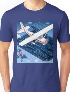 Isometric Infographic Airplane Blue Print Unisex T-Shirt