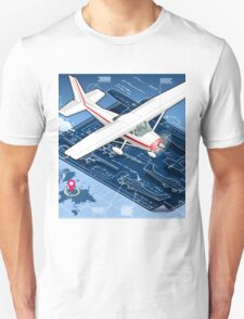 Isometric Infographic Airplane Blue Print Unisex T-Shirt
