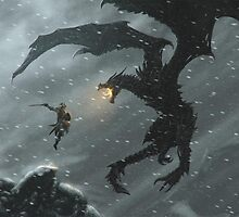 The Elder Scrolls V - Skyrim, Warrior Vs Dragon by ghoststorm