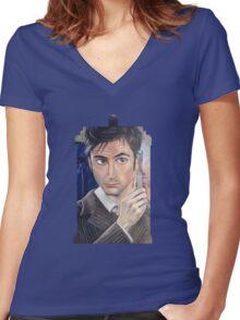 """Number 10"" - Tardis shirt Women's Fitted V-Neck T-Shirt"