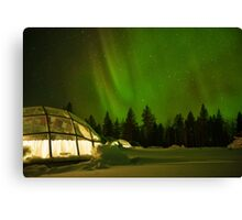 Nighttime in a Glass Igloo Canvas Print