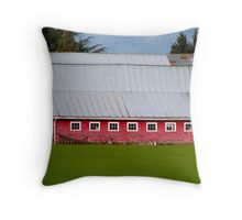 The Old Red Barn on River Road Throw Pillow