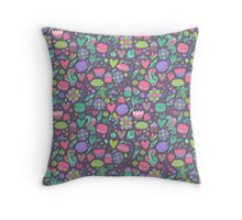 Macarons and flowers Throw Pillow