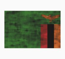 Distressed Zambia Flag Kids Clothes