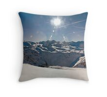 Panoramic photograph of the French Alps taken from Val d'Isere Throw Pillow