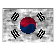 Distressed South Korea Flag Photographic Print
