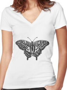BUTTERFLY Women's Fitted V-Neck T-Shirt