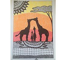 Giraffe Family Sunset Photographic Print