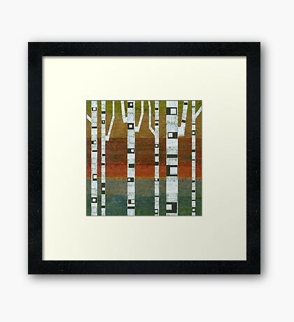 Birches with Blue and Orange Framed Print