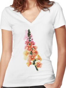 beautiful illustration of Hand Painted flower Wild  Women's Fitted V-Neck T-Shirt