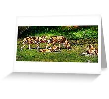 African Wild Dog Family Greeting Card