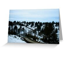 gravel road going out to highway Greeting Card