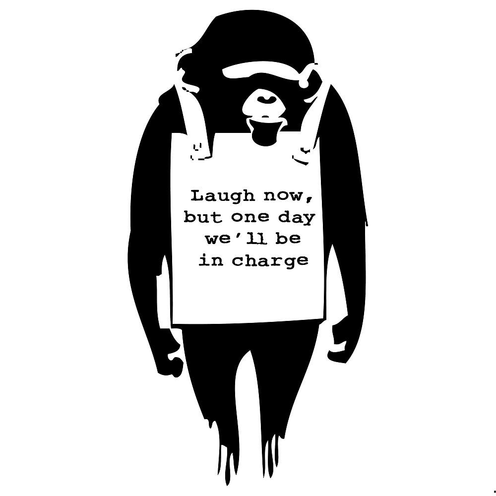 banksy print monkey laugh now chimp by willsharpe1