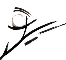 Calligraphy Art, Abstract Black and White Painting  by ShiningEyeArts