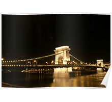 Budapest Chain Bridge by Night Poster